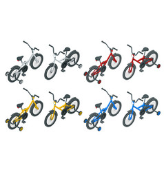 isolated icon isometric kid s bicycle on white vector image