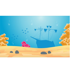 landscape of underwater with ship silhouette vector image