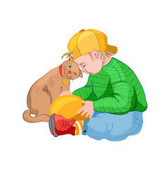 little boy in yellow cap playing with a cat vector image