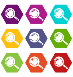 magnifier icons set 9 vector image