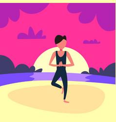 man doing yoga exercises sunset beach background vector image