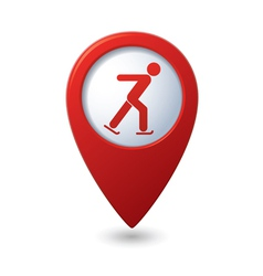 Map pointer with ice skater symbol vector image