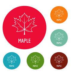 maple leaf icons circle set vector image
