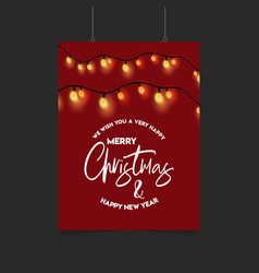 Merry christmas red decoration ligh poster vector