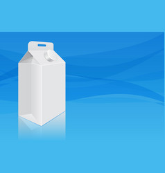 milk cardboard packaging on blue background vector image