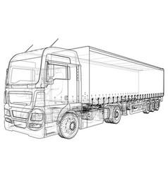 Model trailer truck wire-frame eps10 format vector