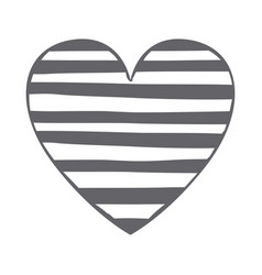 Monochrome silhouette heart with horizontal lines vector