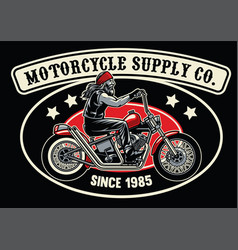 Old biker with chopper motorcycle vector