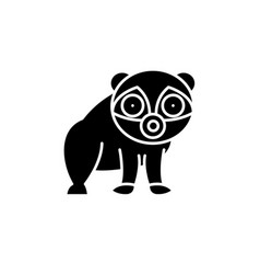 panda black icon sign on isolated vector image