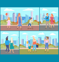 people at city cityscape with citizens vector image