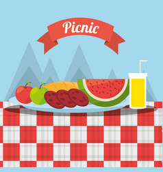 Picnic fruits fod juice tablecloth mountains vector