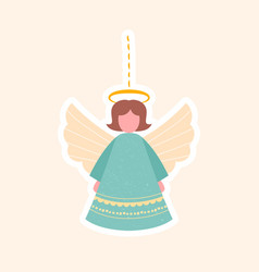 pretty little angel christmas toy for tree vector image