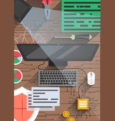 quantum computing technology poster design vector image