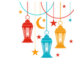 Ramadan kareem trans-colored lanterns in oriental vector