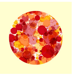 Red and orange watercolor paint drops in cirle vector