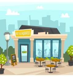 Restaurant building exterior with cityscape front vector