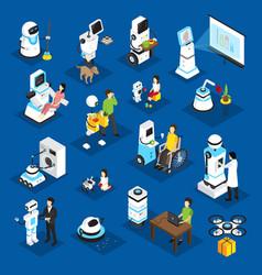 Robots isometric set vector