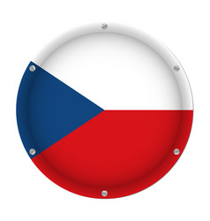 round metallic flag of czech republic with screws vector image