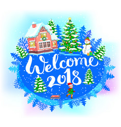 Round new year banner welcome 2018 vector