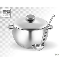 Saucepan and ladle from stainless steel on a vector