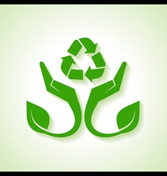 Save Nature concept with leaf and hand vector image
