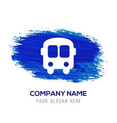 school bus icon - blue watercolor background vector image