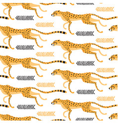 seamless pattern with running cheetahs leopards vector image