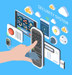 Security system isometric composition vector