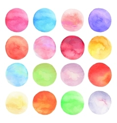Set drawn watercolor Round shapes vector