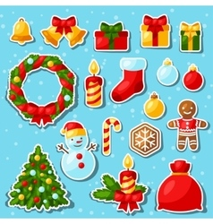 Set of Merry Christmas and Happy New Year sticker vector