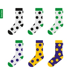 Set of socks with soccer ball pattern in brazil vector