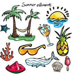 set of summer elements vector image