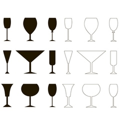 Set of vine glass silhouette and outline vector