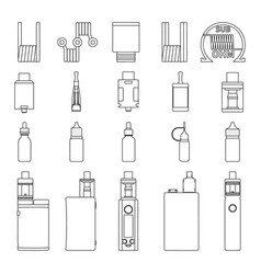 set vape accessories outline icons vector image