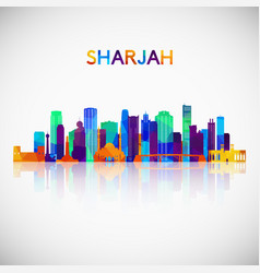 Sharjah skyline silhouette in colorful geometric vector