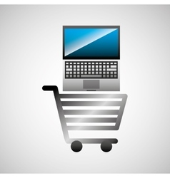 shiny shopping cart laptop online commerce vector image
