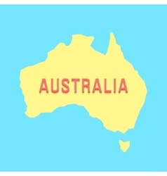 Silhouette of Australia in yellow and blue colors vector