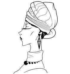 Sketch of beautiful african woman vector