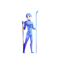 skier sportsman male athlete character in vector image