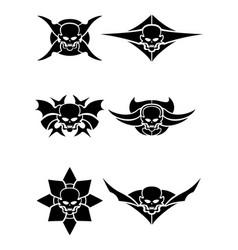 Skull tribal tattoo set vector
