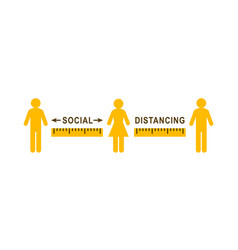 Social distancing sign with people standing apart vector