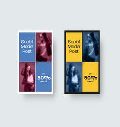 Social media post template color stories on white vector