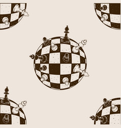 Spherical chess seamless pattern engraving vector