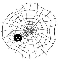 Spider web with cute spider vector
