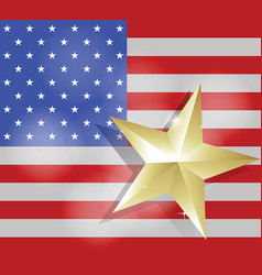 Star for success on united states of america flag vector