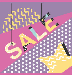 super sale modern banner in memphis style vector image