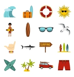 Surfing icons set flat style vector image