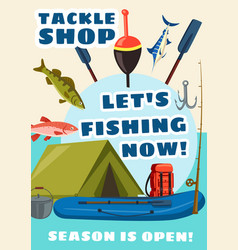 Tackle shop poster fishery equipment and fish vector
