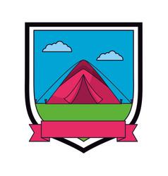 Tent camping emblem ribbon vector