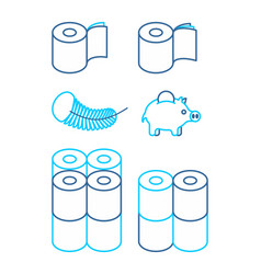 toilet paper rol set icon economical two-layered vector image